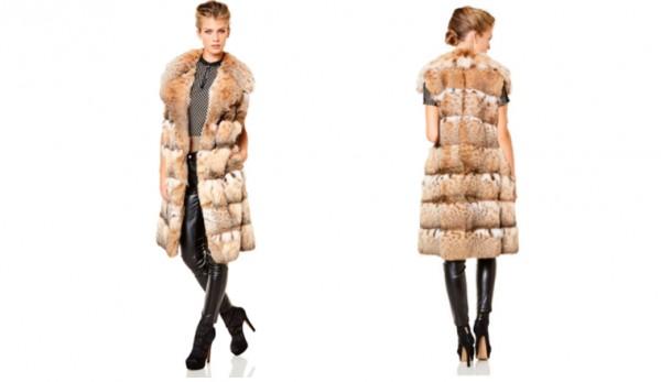 Шуба из меха натуральной рыси, длиной 95 см делает эту модель исключительной в своем роде. Редкий дизайн рукава, надрезанного горизонтально а также богато выделяющийся воротник прекрасно сочетаются с вечерним платьем и с другой повседневной одеждой.