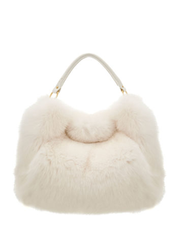 white-fox-fur-hand-bag